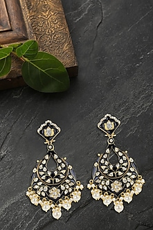 Gold Plated Blue Enameled Dangler Earrings by Kaari