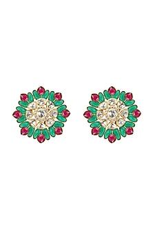 Gold Plated Emerald & Ruby Stud Earrings by Kaari