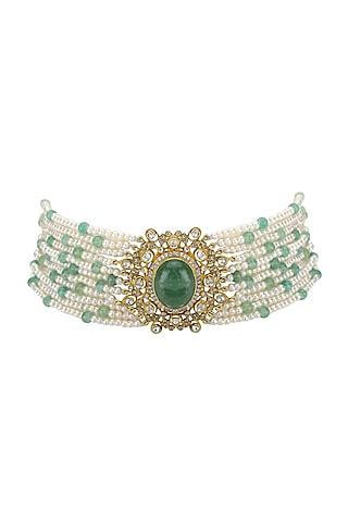 Gold Plated Polki & Emeralds Choker Necklace by Kaari