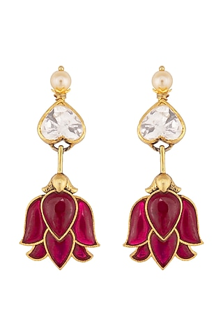 Gold Plated Ruby Necklace by Kaari