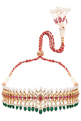 Gold Plated Ruby & Emerald Choker Necklace by Kaari