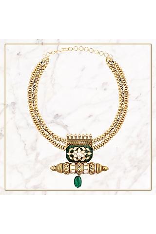 Gold Plated Polki Collar Necklace by Kaari