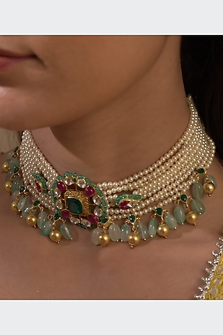 Gold Plated Pearls Choker Necklace by Kaari
