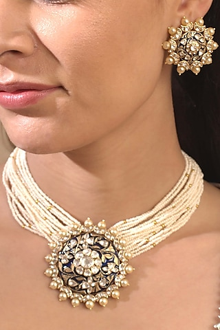 Gold Plated Blue Enameled Necklace by Kaari