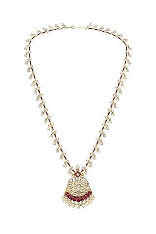 Gold Plated Polki Pendant With Chain Necklace by Kaari
