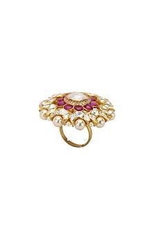 Gold Plated Polki & Pearls Ring by Kaari