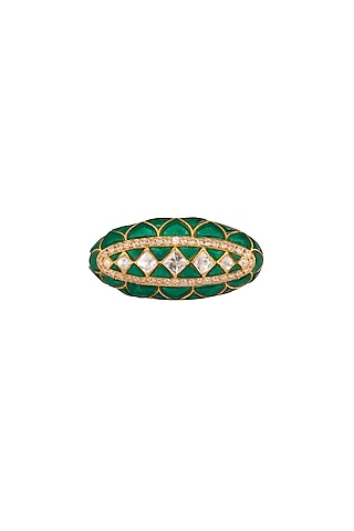 Gold Plated Polki Two Finger Ring by Kaari