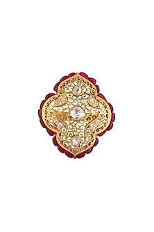 Gold Plated Polki & Ruby Ring by Kaari
