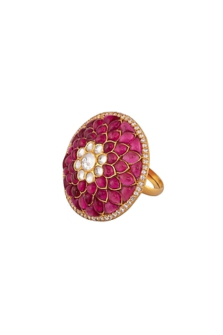 Gold Plated Ruby Ring by Kaari