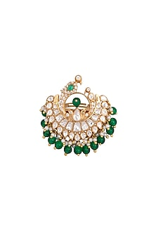 Gold Plated Pearls & Polki Ring by Kaari