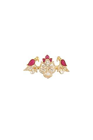 Gold Plated Ruby Two Finger Ring by Kaari