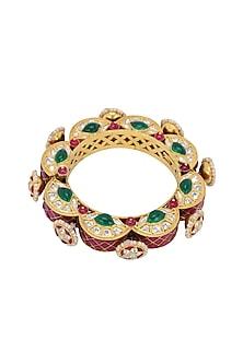 Gold Plated Emerald Gajra Bangle by Kaari