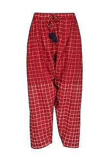 Red Cotton Salwar Pants by Ka-Sha