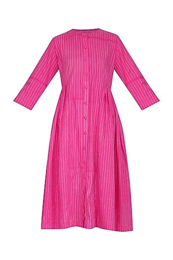 Pink Stitch Dye Pleated Dress by Ka-Sha