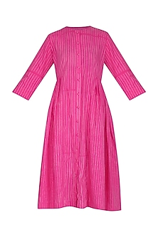 Pink Stitch Dye Pleated Dress by Ka-Sha