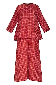 Red Tie-Dye Layered Jumpsuit by Ka-Sha