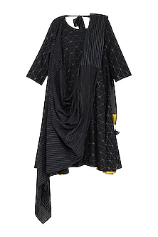 Black Stitch Dye Dress With Saree Drape by Ka-Sha