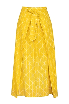 Yellow Flap Tie-Up Skirt by Ka-Sha