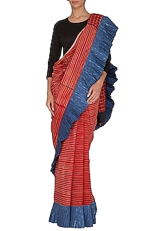 Red Stitch Dye Frill Saree by Ka-Sha
