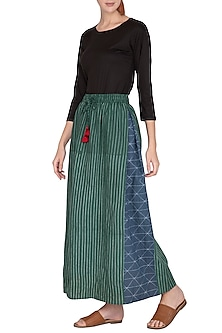 Emerald Green Side Pleated Skirt by Ka-Sha