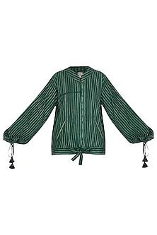 Emerald Green Stitch Dye Bomber Jacket by Ka-Sha