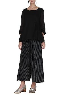 Black Flap Tie-Up Pants by Ka-Sha
