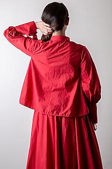Tomato Red Shirt With Voluminous Sleeves by Ka-Sha