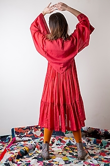 Tomato Red Double Layered Dress by Ka-Sha