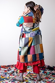 Multi Colored Trench Jacket With Patchwork by Ka-Sha