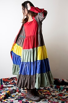 Multi Colored Hand Dyed Tiered Dress by Ka-Sha