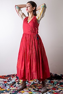 Tomato Red Tunic With Tassels by Ka-Sha