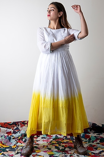 Lily White & Sunflower Yellow Dip-Dyed Dress by Ka-Sha