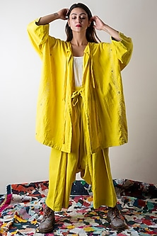 Sunflower Yellow Hand Embroidered Jacket by Ka-Sha