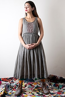 Pebble Grey Hand Embroidered Dress by Ka-Sha