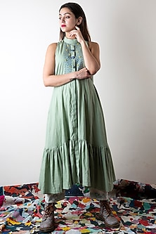 Sage Green Embroidered Tiered Dress by Ka-Sha