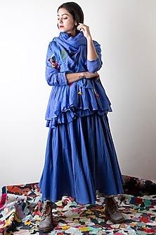 Sapphire Blue Hand Painted Scarf by Ka-Sha