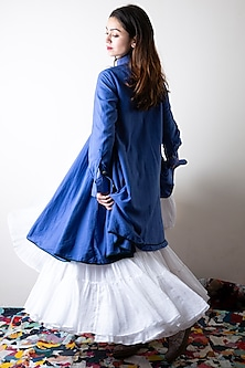 Sapphire Blue Hand Dyed Flared Skirt by Ka-Sha