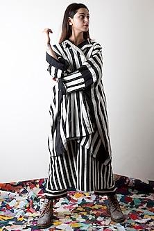 Raven Black & Lily White Striped Pants by Ka-Sha