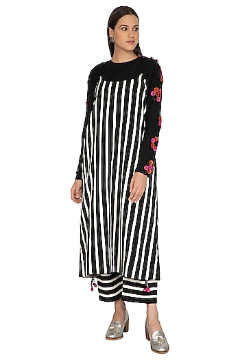 Black Cotton Striped Dress by Ka-Sha