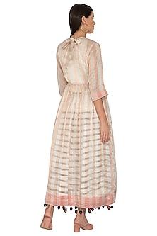 White Woven Striped Dress by Ka-Sha