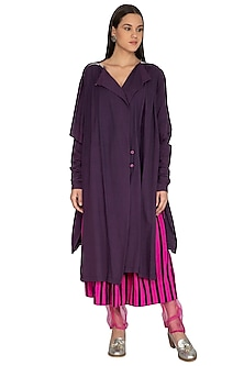 Purple High-Low Drape Jacket by Ka-Sha