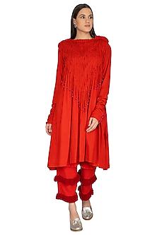 Red Cotton Pleated Tunic by Ka-Sha
