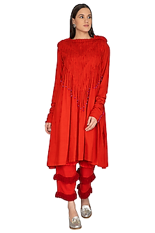 Red Cotton Pleated Tunic by Ka-Sha