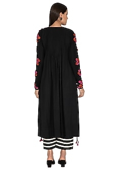 Black Embroidered Pleated Dress by Ka-Sha
