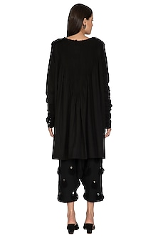 Black Mirrored Pleated Tunic by Ka-Sha