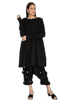 Black Embroidered Salwar Pants by Ka-Sha