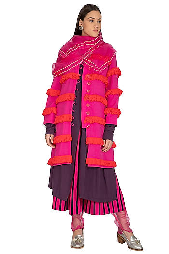 Pink Badla Embroidered Scarf by Ka-Sha