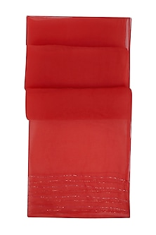 Red Badla Embroidered Scarf by Ka-Sha