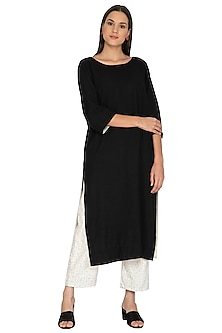 Black Cotton Straight Tunic by Ka-Sha