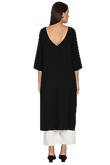 Black Cotton Straight Tunic by Ka-Sha